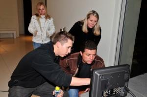 Brett, Dennis, Linda & me looking at the monitor