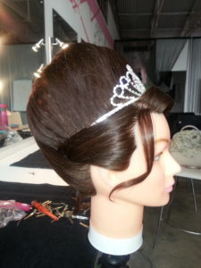 Wedding poof other side view with tiara